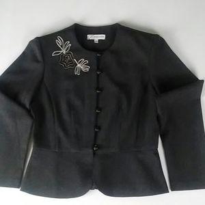 Dressbarn Grey Floral Blazer Jacket Embroidered 6